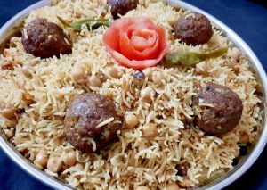 Beef kofta and chana pulao